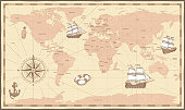 Antique world map. Vintage compass and retro ship on ancient marine map. Old countries boundaries vector illustration