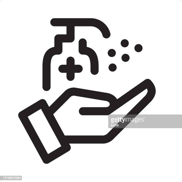antiseptic spray - outline icon - pixel perfect sign - clip art stock illustrations