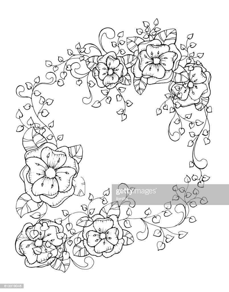 Antistress coloring book page design for adults with flower branch,