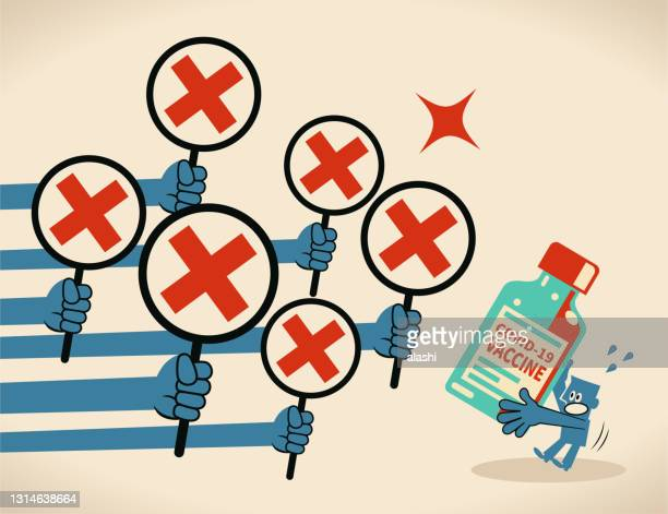 anti-vaccination concept, a blue man carrying a big covid-19 vaccine bottle gets rejected (many hands showing the letter x red cross sign) - anti vaccination stock illustrations