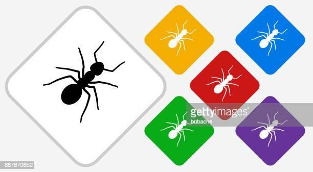 ilustraciones, imágenes clip art, dibujos animados e iconos de stock de icono de vector de diamante de color de hormigas - hormiga