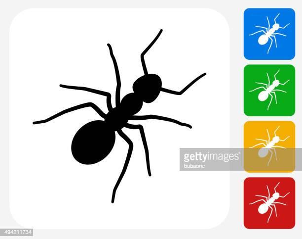 ilustraciones, imágenes clip art, dibujos animados e iconos de stock de ants iconos planos de diseño gráfico - hormiga