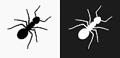 Ants Icon on Black and White Vector Backgrounds