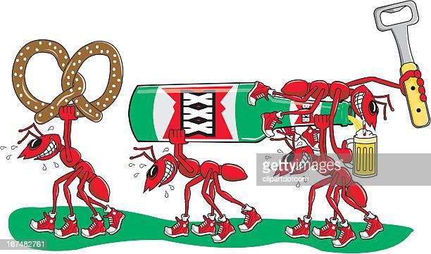 ilustraciones, imágenes clip art, dibujos animados e iconos de stock de ants robar una cerveza y pretzels - hormiga