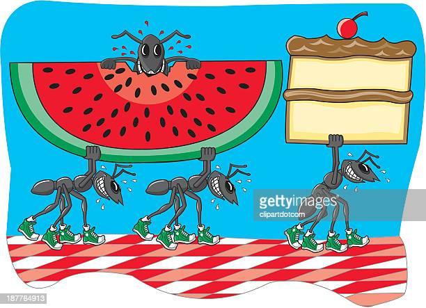 ilustraciones, imágenes clip art, dibujos animados e iconos de stock de ants robar una torta y sandía - hormiga
