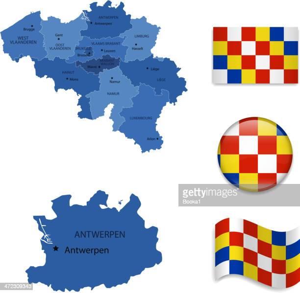 antwerp province set - antwerp province belgium stock illustrations