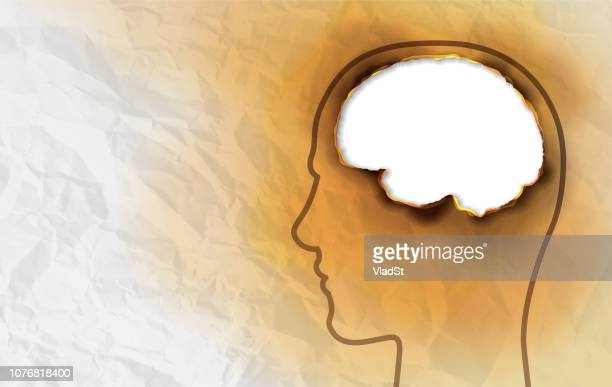 anxiety depression ptsd mental disorder burned paper brain human head hole concept - post traumatic stress disorder stock illustrations