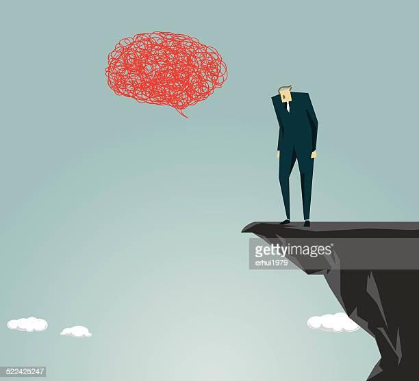 anxiety, despair, depression, recession, sadness - crag stock illustrations, clip art, cartoons, & icons