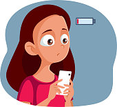 Anxious Girl Having Low Battery on Her Phone