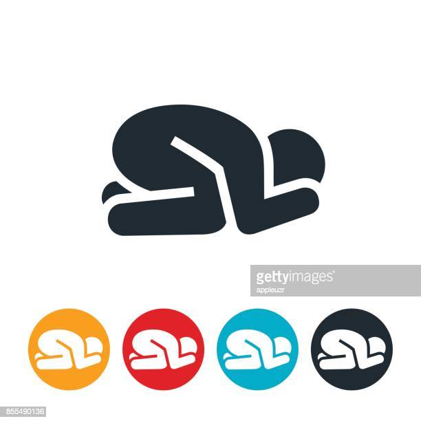 Anxious Person In Fetal Position Icon