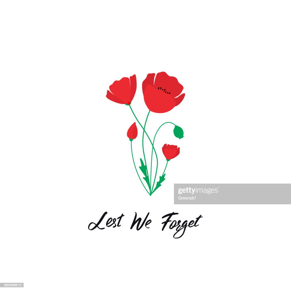 Anzac Day vector banner. Red Poppy flower illustration and lettering - Lest We forget.  Symbol of International Day of Remembrance. Poppy for Armistice day.