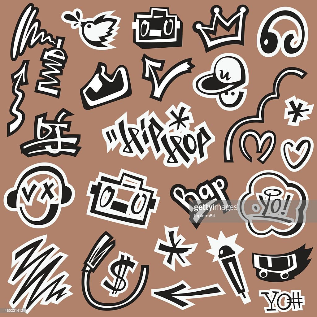 ap music , hip hop , graffiti - vector icons