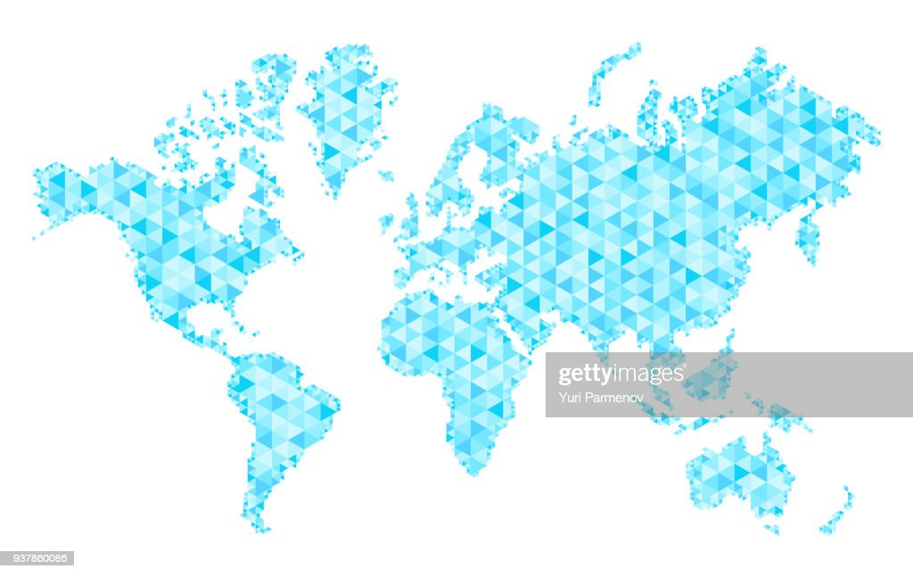 Мap of world with trendy triangles design. Polygon Mesh of Earth Map. Vector Background.