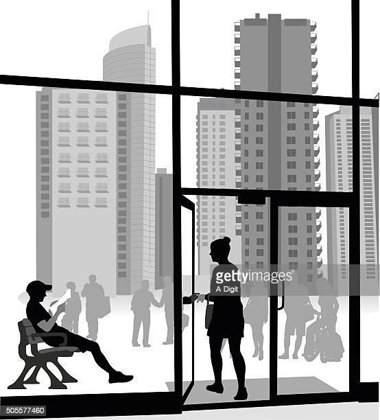 apartment building entrance - entrance stock illustrations, clip art, cartoons, & icons
