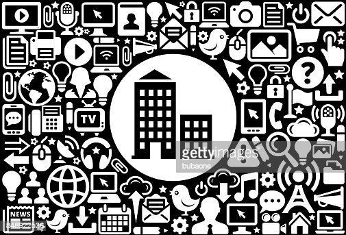 apartment building icon black and white internet technology