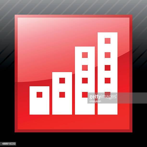 apartment-gebäude symbol auf einer quadratischen knöpfen. - gewerbeimmobilie stock-grafiken, -clipart, -cartoons und -symbole