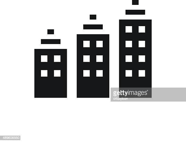 apartment-gebäude symbol auf weißem hintergrund. single series - gewerbeimmobilie stock-grafiken, -clipart, -cartoons und -symbole