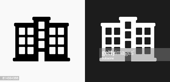 apartment building icon on black and white vector backgrounds vector
