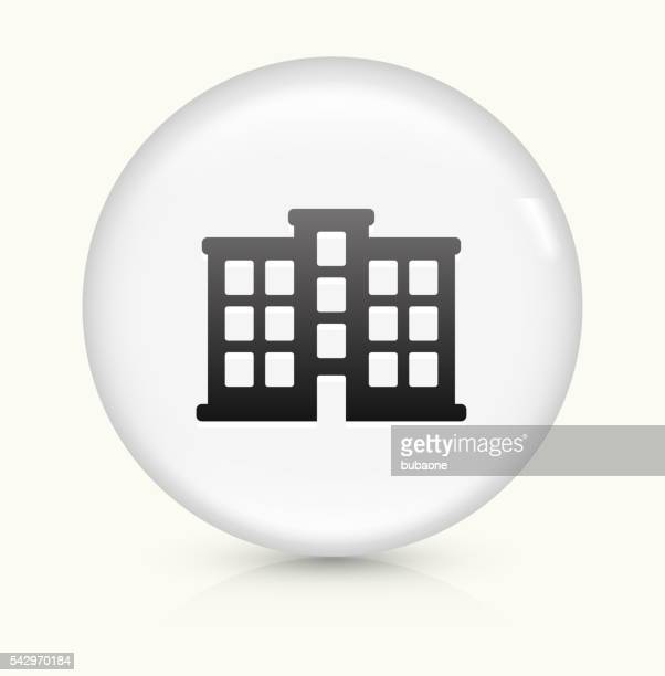 Apartment Building icon on white round vector button