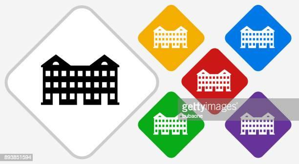 Apartment Buildings Color Diamond Vector Icon