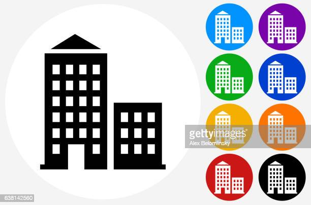 Apartment Buildings Icon on Flat Color Circle Buttons
