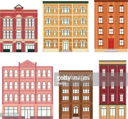 Brick Apartment Building Illustration.  Apartment Buildings Vector Art Getty Images