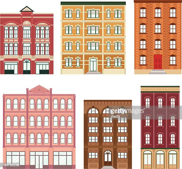 apartment buildings - brick stock illustrations