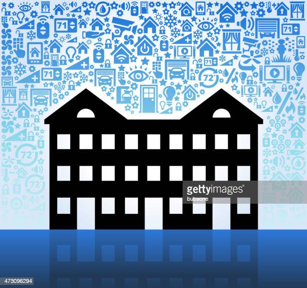 Apartment Complex on Home Automation and Security Vector Background