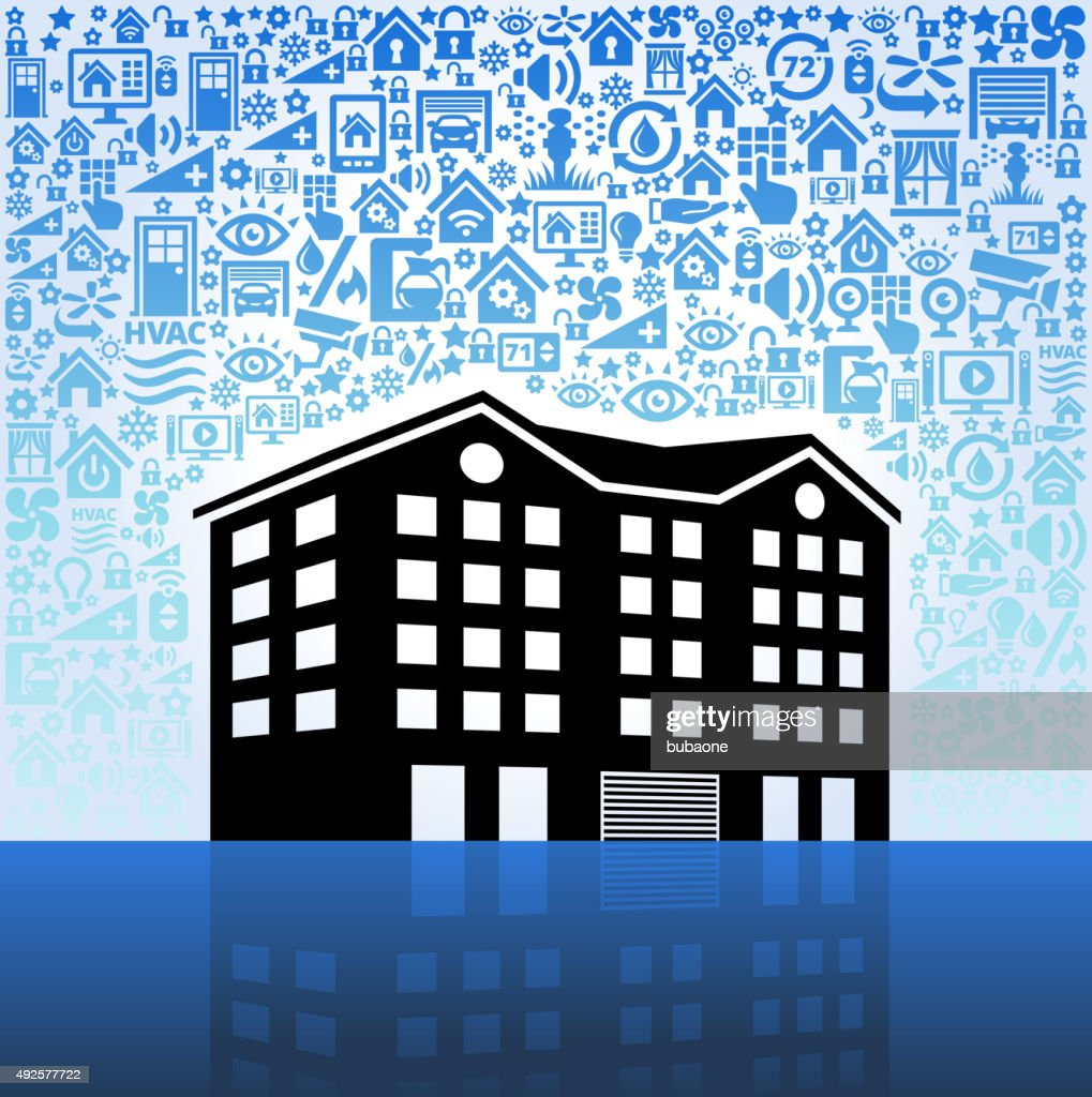 Apartment Complex On Home Automation And Security Vector Background Stock