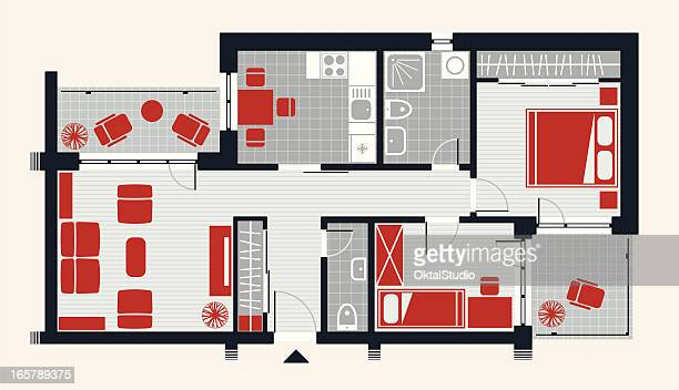 apartment concept - bedroom stock illustrations, clip art, cartoons, & icons