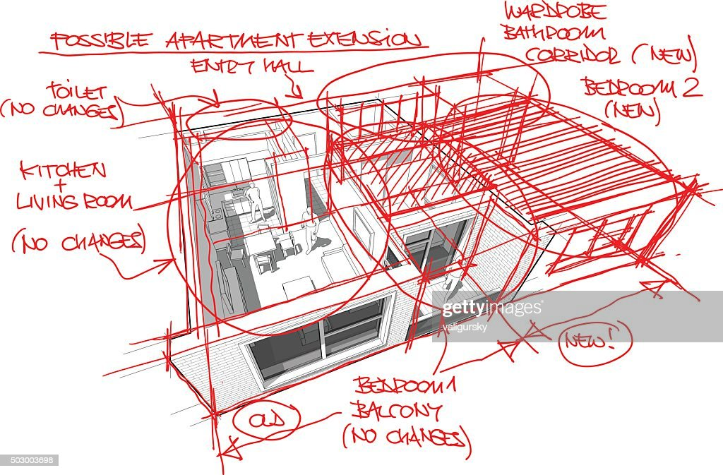 Apartment diagram with hand drawn architect`s sketches