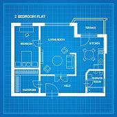 Apartment Floor Plan Blueprint. Vector