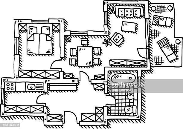 アパートメントのフロアープランの描出
