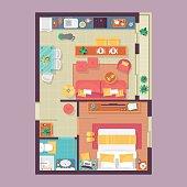 Apartment floor plan top view. Furniture set for interior design