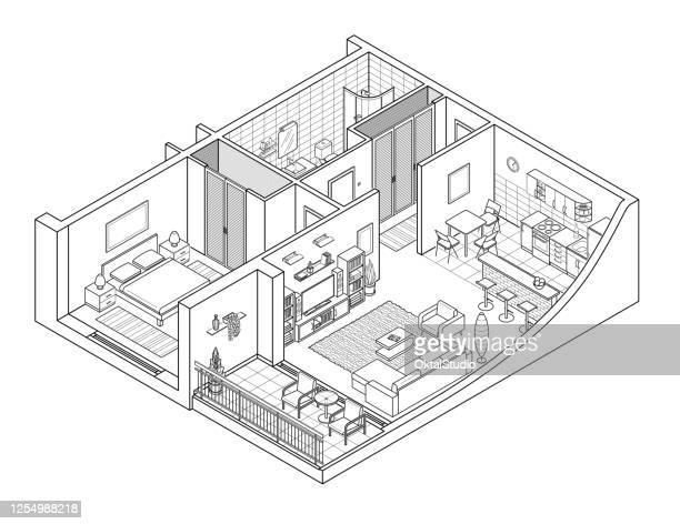 stockillustraties, clipart, cartoons en iconen met appartement isometry line tekening - onderdeel van