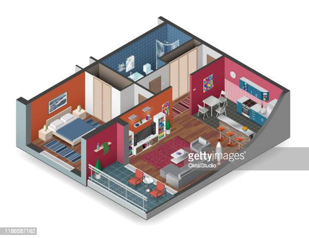 apartment isometry - domestic room stock illustrations