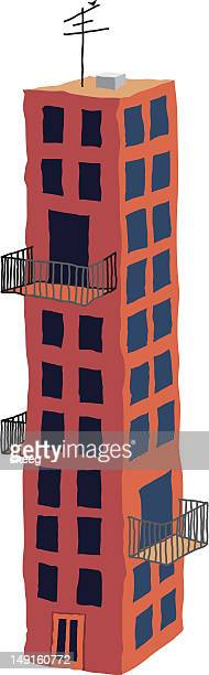 apartment or tenement building - television aerial stock illustrations, clip art, cartoons, & icons