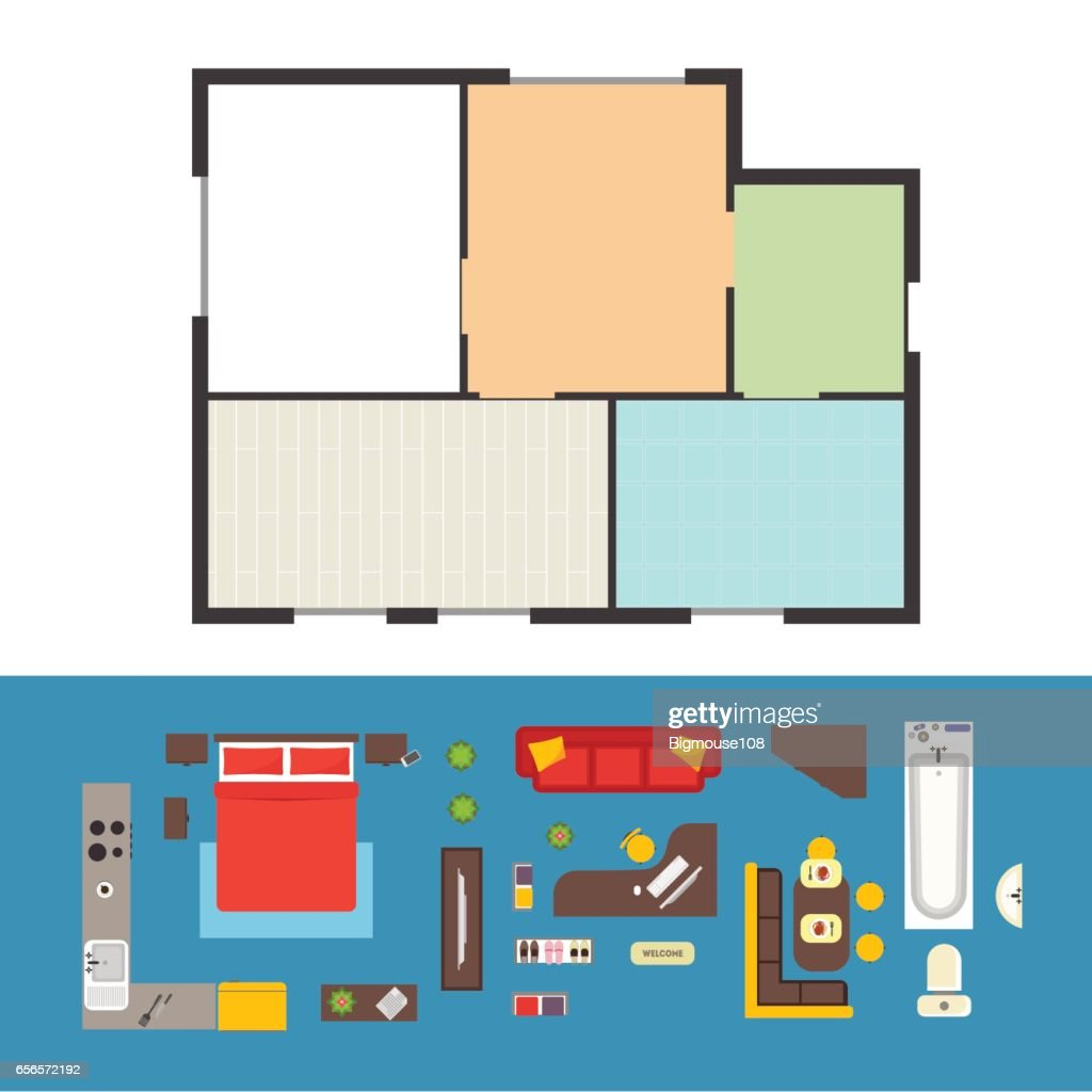 Apartment Plan and Furniture Set. Vector