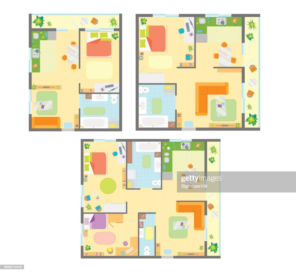Apartment Plan with Furniture Set. Vector
