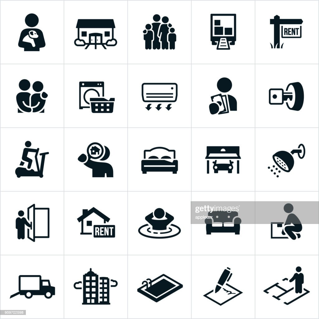 Apartment Rental Icons : stock illustration