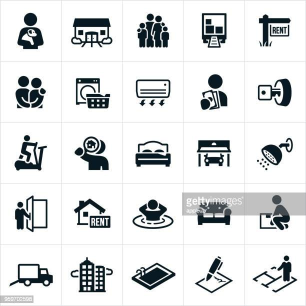 apartment rental icons - legal document stock illustrations, clip art, cartoons, & icons