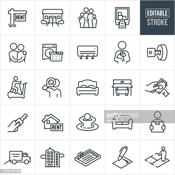 illustrations, cliparts, dessins animés et icônes de location d'appartements thin line icônes - accident modifiable - appartement