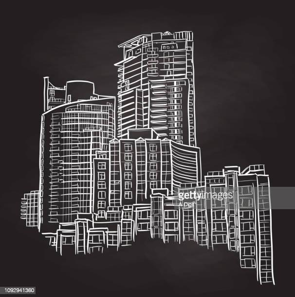 apartment sky scrapers - cityscape stock illustrations, clip art, cartoons, & icons