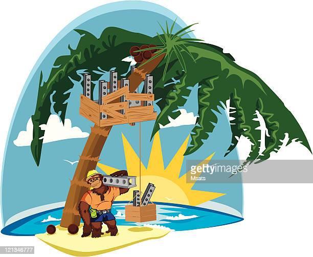 ape - gorilla - bungalow stock illustrations, clip art, cartoons, & icons