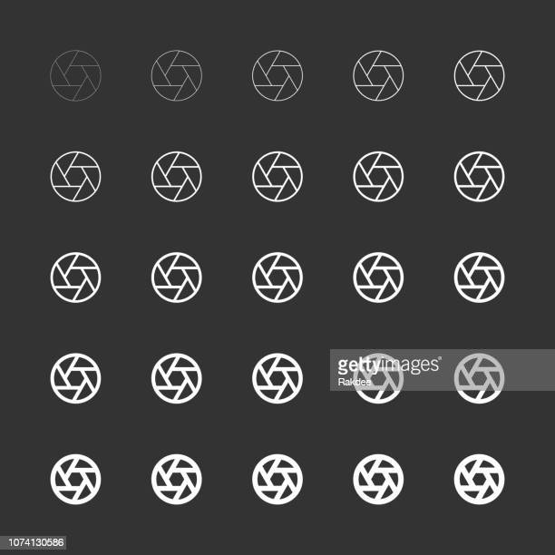 aperture icon - white multi line series - large format camera stock illustrations, clip art, cartoons, & icons