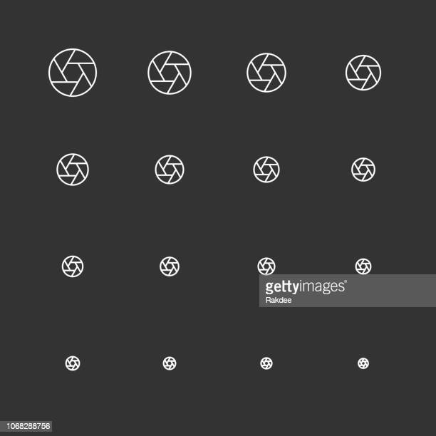 aperture icons - white multi scale line series - large format camera stock illustrations, clip art, cartoons, & icons