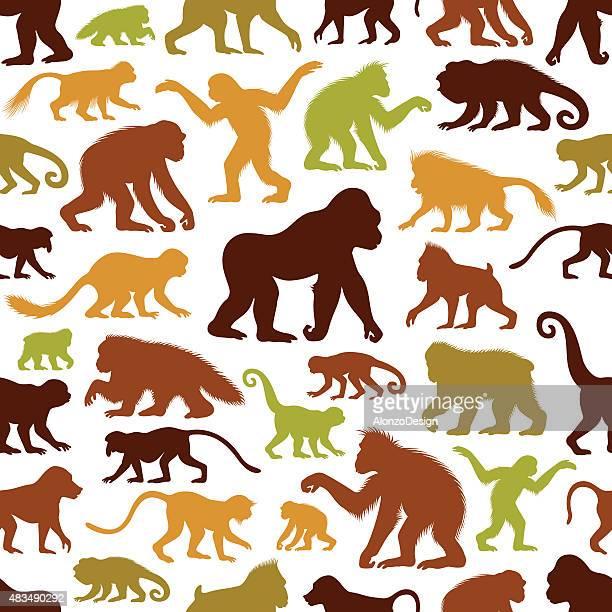 apes and monkeys pattern - chimpanzee stock illustrations, clip art, cartoons, & icons