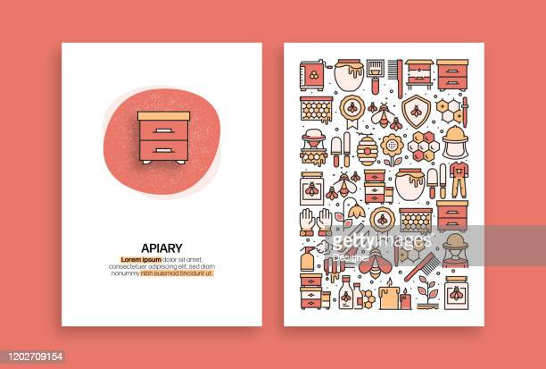 apiary related design. modern vector templates for brochure, cover, flyer and annual report. - worker bee stock illustrations
