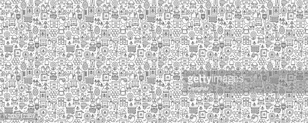 apiary related seamless pattern and background with line icons - worker bee stock illustrations