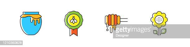 apiary related vector flat line icons. outline symbol collection. - worker bee stock illustrations